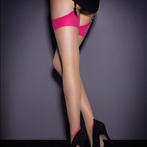 Agent provocateur contrast seamed nylon stockings